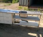 Rosterinen tiskiallas työtasolla ja laatikoistoilla, käytetty